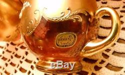Bohemian Czech Crystal Fired Gold & Enameled Glass Punch Bowl Set Antique