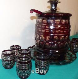 Bohemian Czech Glass Red Cut Overlay Covered Barrel Punch Bowl With 10 Cups