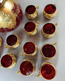 Bohemian Glass Ruby Red/Gold Enameled Large (4 Quart) Punch Bowl & 12 Cups