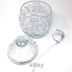 Bohemian Punch Bowl Czech Crystal Glass Lid And Ladle Set Vintage Heavy Pinwheel