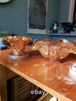 Breathtaking Imperial Carnival Glass 8 Piece Punch Bowl set Marigold Chip Free