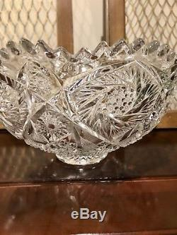 Brilliant Cut Crystal Footed Punch Bowl 13.5 Hobstar Clear Glass