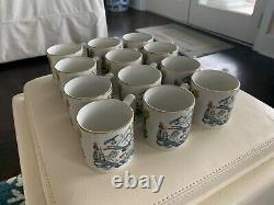 Burgess & Leigh Farmers Arms Punch Bowl (12) Mugs England God Speed The Plough
