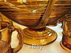 CAMBRIDGE GLASS TALLY HO 15 pc amber PUNCH SET footed PUNCH BOWL 12 TALL MUGS
