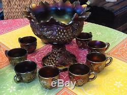 CARNIVAL GLASS GRAPE CABLE 12 PIECE SET BY NORTHWOOD PUNCH BOWL With BASE 10 CUPS
