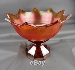 CARNIVAL GLASS WESTMORELAND ORANGE PEEL Marigold-Amber Punch Bowl Marriage