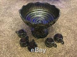 CARNIVAL WONDERFUL IMPERIAL ELECTRIC PURPLE BROKEN ARCHES PUNCH BOWL/Stand&5cups