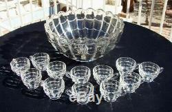 CASCADE PUNCH SET Crystal 13 Pc CAMBRIDGE GLASS CO. 1950 Art Deco BOWL & 12 CUPS