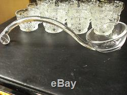 COLLECTIBLE V. GLASS PUNCH BOWL SET LADLE With MATCHING 12 CUPS GOLD METAL BASE LN
