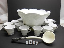 COLONY HARVEST MILK GLASS PUNCH BOWL WITH 12 CUPS & LADLE rf7-958