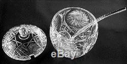Cut Glass Crystal Covered Punch Bowl Cut Crystal Ladle & 11 Cups Ring Tone