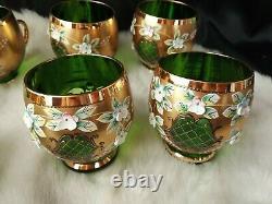 CZECH BOHEMIAN GOLD & Emerald Green CRYSTAL 7 MATCHING CUPS
