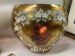 CZECH BOHEMIAN MOSER RAISED ENAMEL Ruby Red 3D Floral Gold Punch Bowl Vase Wine