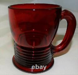 Cambridge USA Tally Ho Carmen Red Punch Bowl & 12 Mugs / Cups Elegant Glass
