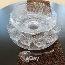 Cambridge Valencia Punch Bowl, Plate, 12 cups & Ladle