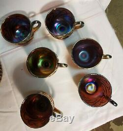 Carnival Glass Dugan Purple S Repeat Punch Bowl Base And 12 Cup Amethyst