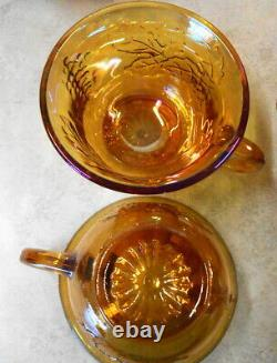 Carnival Glass Iridescent Grape Pattern Punch Bowl Set With Ladle 12 Cups