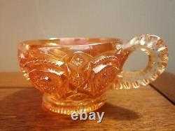 Carnival Glass Wine Punch Bowl On Stand With Cups By Imperial Glass Ohio heavy