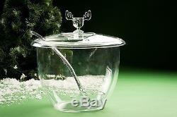 Christmas Moose Mug Punch Bowl Set with 4 Moose Mugs Safer Than Glass