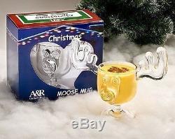 Christmas Moose Mug Punch Bowl Set with 8 Moose Mugs Safer Than Glass