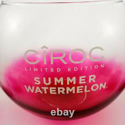 Ciroc LE Watermelon Glass Party Punch Bowl Set w 8 Cups and 10 Cocktail Sticks