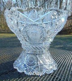 Clark ABP American Brilliant Cut Glass Crystal Punch Bowl Pedestal Base Owl