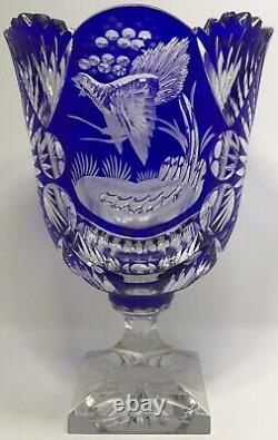 Cobalt Blue Cut To Clear Crystal Pedestal Fruit Punch Centerpiece Bowl with Base