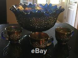 Cobalt Blue Fenton Orange Tree 10.5 Punch Bowl With 3 Punch Cups No Base