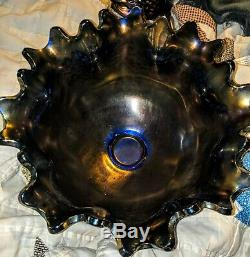 Cobalt Blue Fenton Orange Tree 10 Punch Bowl With Base