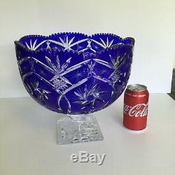 Cobalt Cut To Clear Bohemian/czech Crystal Punch Bowl