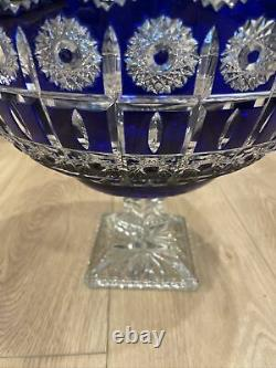 Cobalt Cut to Clear Punch or Fruit Footed Bowl LARGE