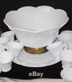 Colony Harvest Grape Milk Glass Punch Bowl Set with 12 Cups & Underplate M4413