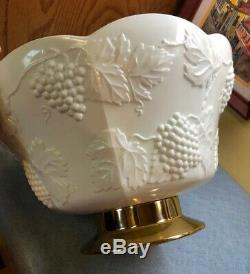 Colony Harvest Grape Milk Glass Punch Bowl withgold base, 12 Cups, ladle and hooks