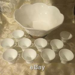 Colony Harvest Grape Paneled Milk Glass Punch Bowl withgold raised base & 10 Cups