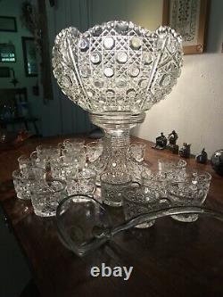 Complete LE Smith Glass Daisy & Button 20 Piece Huge Punch Bowl Set, glass ladle