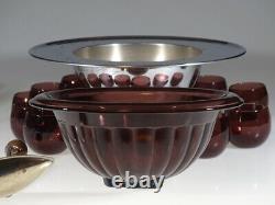 Complete Vintage Deco Hazel Atlas Glass Amethyst Punch Bowl Set Chromium c. 1935