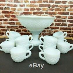 Concord Early American Punch Bowl Set Milk Glass 12 Cups Mugs Party Serving