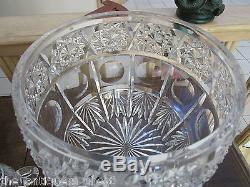 Covered Crystal cut Punch Bowl withladdle & 5 cups