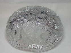 Crystal Punch Bowl Cut Glass Beautiful Pattern size 8 dia 3 height