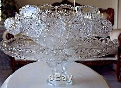 Crystal Vintage 14 pcs Punch Bowl Set American Brilliant Period Large Heavy