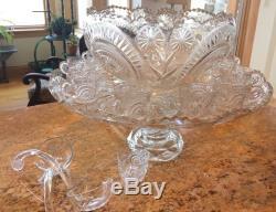 Crystal Vintage 17 pcs Punch Bowl Set Large Heavy Cut Crystal