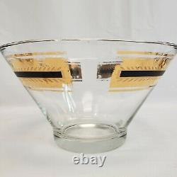 Culver Roly Poly Punch Bowl Set with 12 Glasses, Stand, Ladle Black /Gold Flower