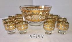 Culver Valencia Egg Nog Punch Bowl With13 Glasses 10 1/2 Vintage Mid Century