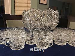 Cut Glass Punch Bowl + 24 Matching Cups Beautiful