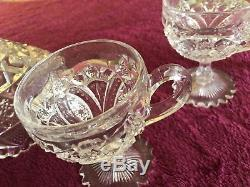 Cut Glass Punch Bowl With 10 Glasses Very Old And Nice