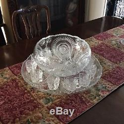 Cut crystal Punch Bowl And Cups