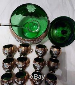 Czech Bohemian Gold Hi Enamel Green Crystal Glass Punch Bowl 12 Cups Ladel