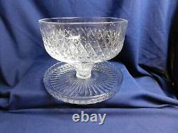 D3 Lady Anne by Gorham Crystal Cake Stand with Dome Punch Bowl Chip Dip