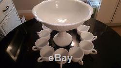 Depression Era 12 Cup Milk Glass Punch Bowl on Rasied Base 14 Peice