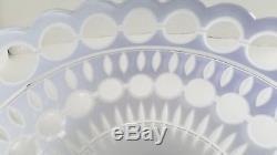 Design Guild Ajka Cobalt Blue Cased Cut to Clear Lg Punch Bowl Art Glass Hungary